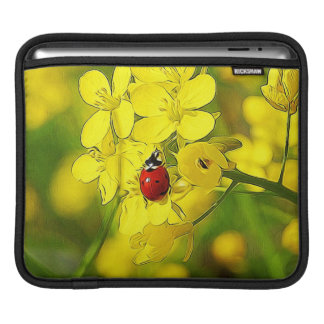 Yellow Canola Flower Good Luck Red Ladybug iPad Sleeve