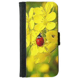 Yellow Canola Flower Good Luck Red Ladybug iPhone 6 Wallet Case