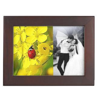 Yellow Canola Flower Good Luck Red Ladybug Keepsake Box