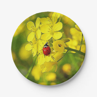 Yellow Canola Flower Good Luck Red Ladybug Paper Plate
