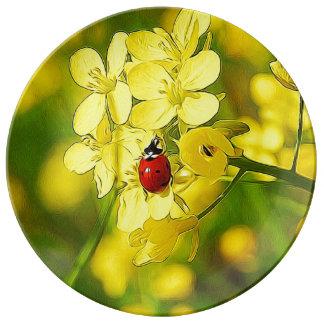 Yellow Canola Flower Good Luck Red Ladybug Plate