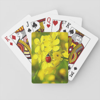 Yellow Canola Flower Good Luck Red Ladybug Playing Cards