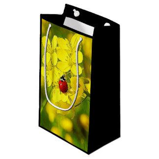 Yellow Canola Flower Good Luck Red Ladybug Small Gift Bag
