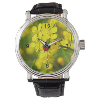 Yellow Canola Flower Good Luck Red Ladybug Watch