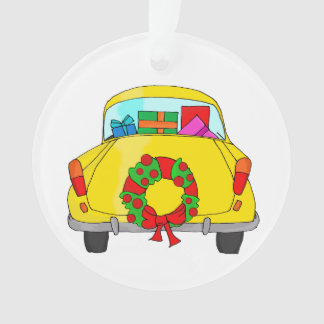 Yellow car with Christmas wreath Ornament
