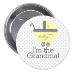 Yellow Carriage-Baby Shower Grandma 7.5 Cm Round Badge
