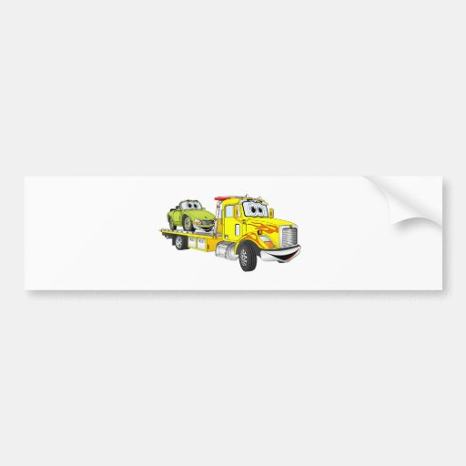 Yellow Cartoon Flatbed Tow Truck Bumper Stickers