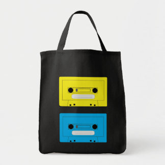 yellow casette copy, blue casette tote bag
