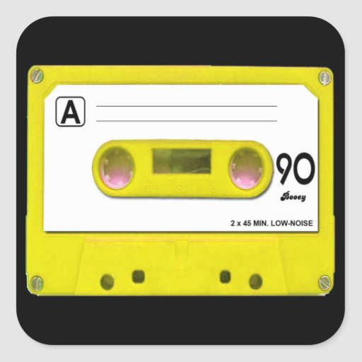 Yellow Cassette Tape Square Stickers