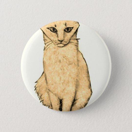 Yellow Cat 6 Cm Round Badge