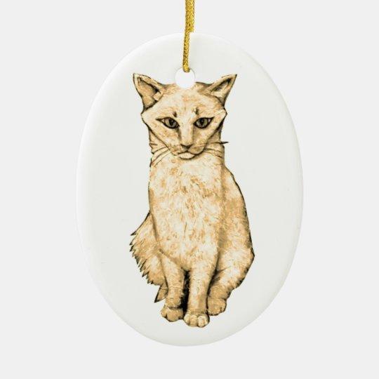 Yellow Cat Ceramic Ornament