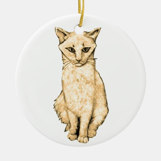 Yellow Cat Ceramic Ornament
