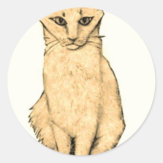 Yellow Cat Classic Round Sticker