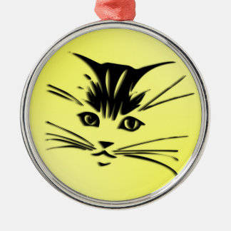 Yellow Cat Face Christmas Ornament