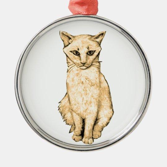 Yellow Cat Metal Ornament
