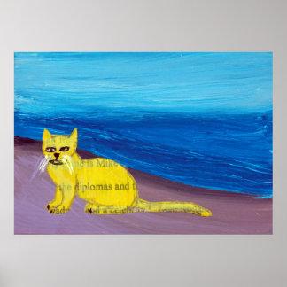 yellow cat on purple beach poster