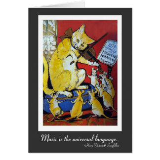 Yellow Cat Playing Violin for Dancing Rats Card