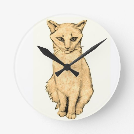 Yellow Cat Round Clock
