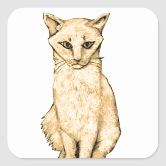 Yellow Cat Square Sticker