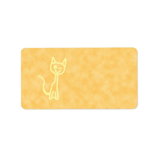 Yellow Cat, Winking. Yellow Pattern Background. Label