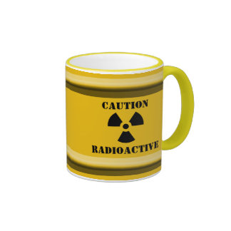 Yellow CAUTION RADIOACTIVE BARREL Halloween Props Mug