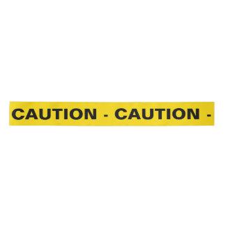 Yellow 'CAUTION' Satin Ribbon