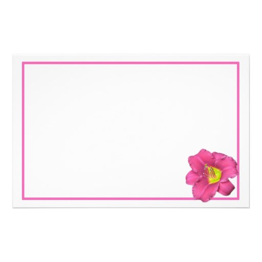 Yellow Centered Pink Flower Stationery