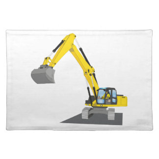 yellow chain excavator place mats