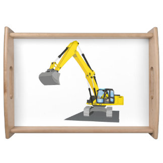 yellow chain excavator serving tray