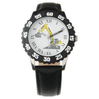 yellow chain excavator wrist watch