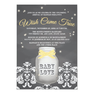 YELLOW Chalkboard Firefly Mason Jar Baby Shower 13 Cm X 18 Cm Invitation Card