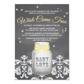YELLOW Chalkboard Firefly Mason Jar Baby Shower 13 Cm X 18 Cm Invitation Card