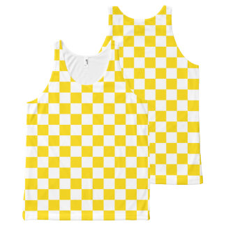 Yellow Checkerboard All-Over Print Singlet