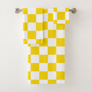 Yellow Checkerboard Bath Towel Set