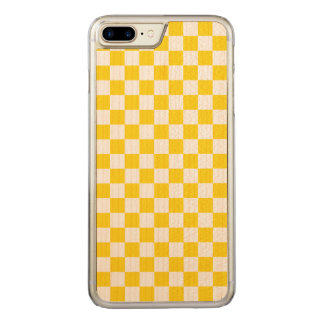 Yellow Checkerboard Carved iPhone 8 Plus/7 Plus Case