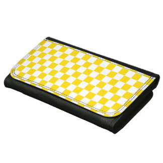 Yellow Checkerboard Leather Wallet For Women