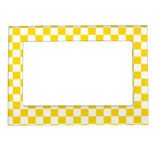 Yellow Checkerboard Magnetic Picture Frame