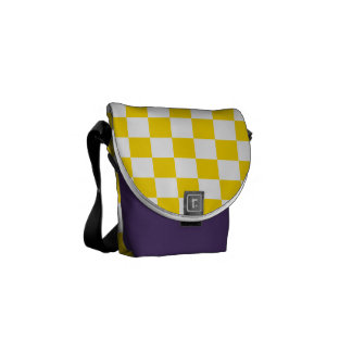 Yellow Checkerboard Messenger Bag