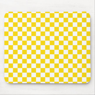 Yellow Checkerboard Mouse Pad
