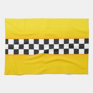 Yellow Checkerboard Pattern Tea Towel