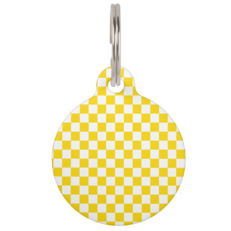 Yellow Checkerboard Pet ID Tag