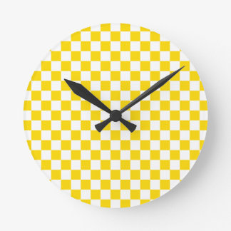 Yellow Checkerboard Round Clock