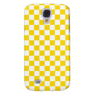 Yellow Checkerboard Samsung Galaxy S4 Cases