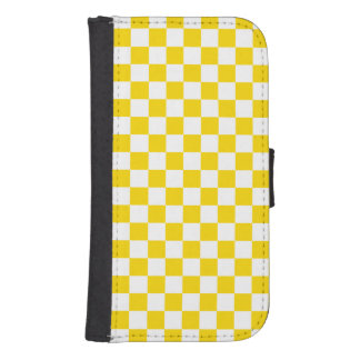 Yellow Checkerboard Samsung S4 Wallet Case