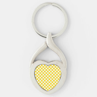 Yellow Checkerboard Silver-Colored Twisted Heart Key Ring