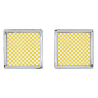 Yellow Checkerboard Silver Finish Cufflinks