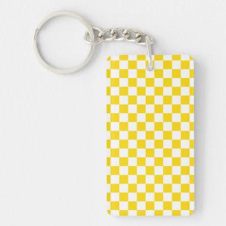 Yellow Checkerboard Single-Sided Rectangular Acrylic Key Ring