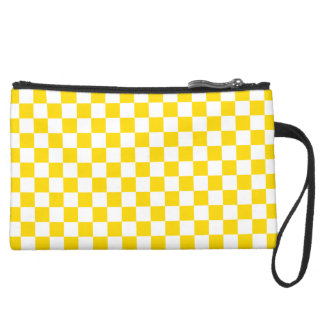 Yellow Checkerboard Suede Wristlet