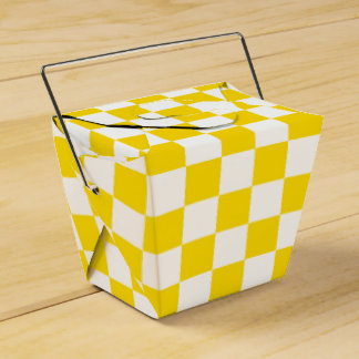 Yellow Checkerboard Wedding Favour Boxes
