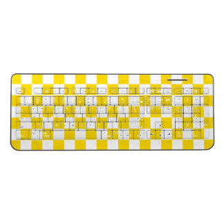 Yellow Checkerboard Wireless Keyboard